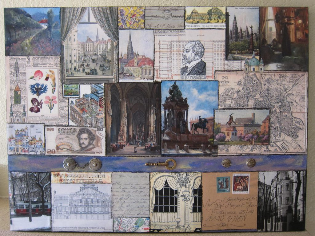 A canvas with collaged images of Vienna