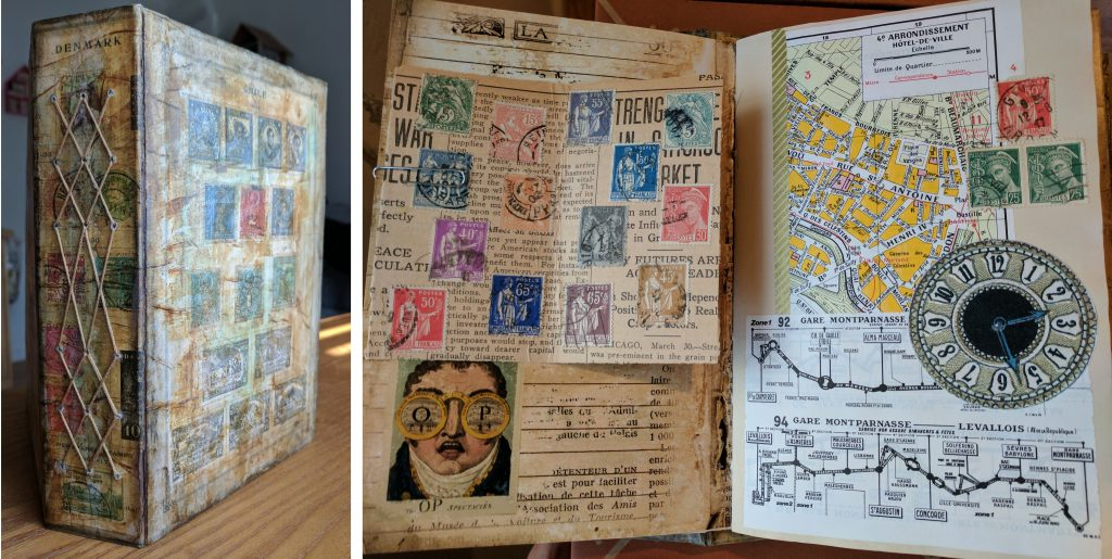 A handmade junk journal with a collage