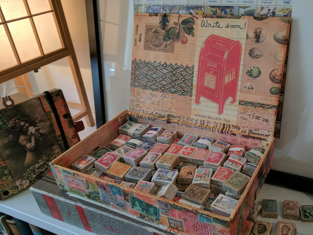 a decorated box of stamp bundles