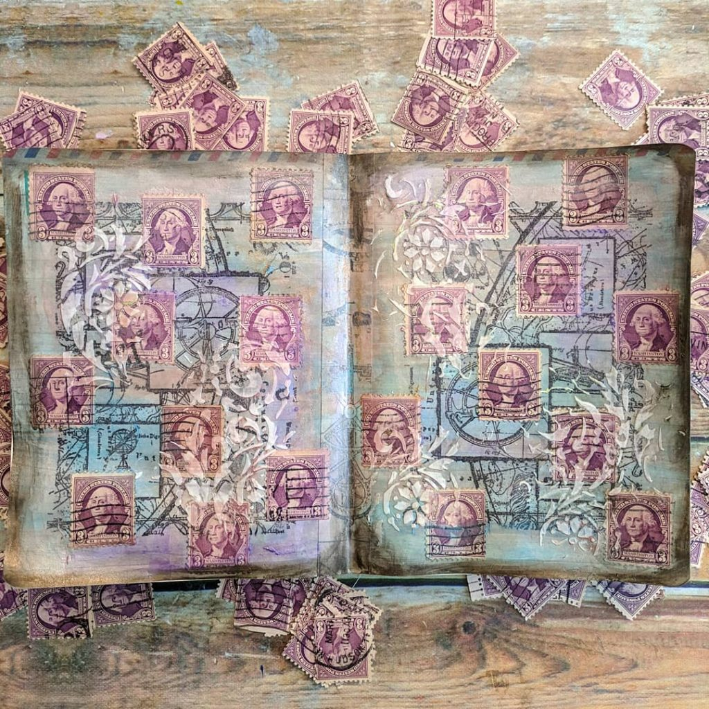two pages of postage stamp art with a set of purple Washington stamps