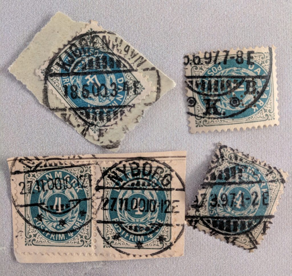 old postmarks on Danish stamps