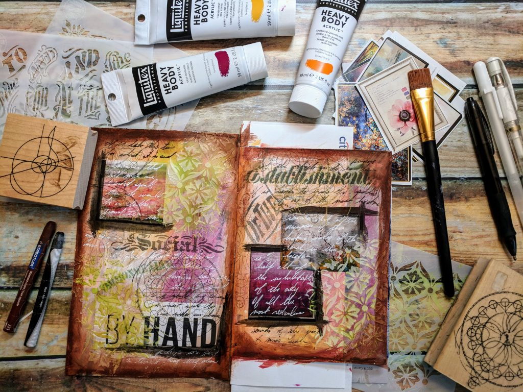 A painted art journal spread