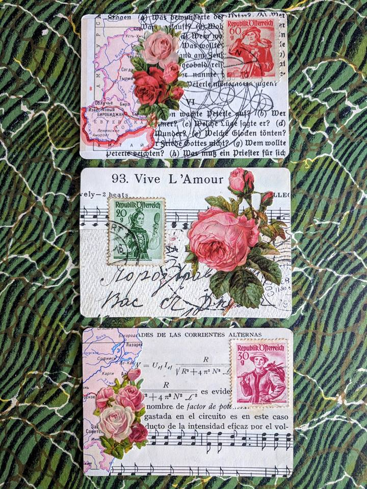 3 cards collaged in a vintage style