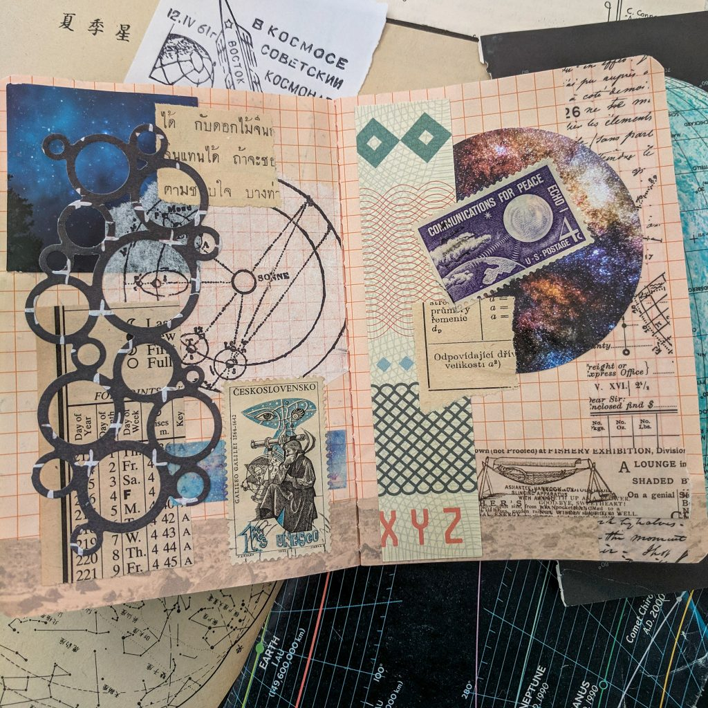 lots of space-related paper scraps make up a collage