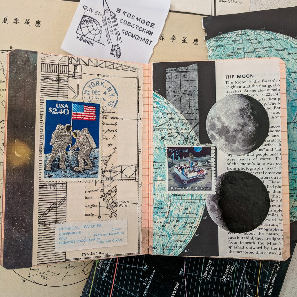 Moon images and postage stamp collage