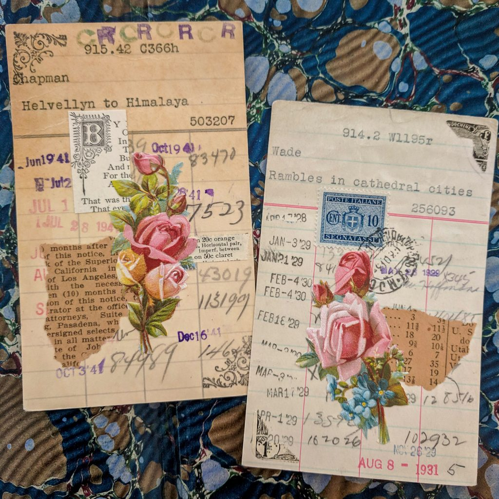Old library borrower's cards that have been collaged on top with vintage papers
