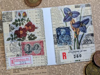two ATCs created with flower illustrations, postage stamps, and registered mail stickers.