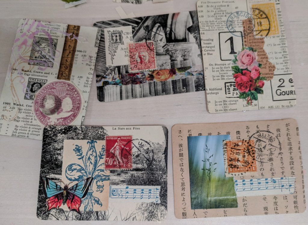5 ATCs all containing vintage ephemera
