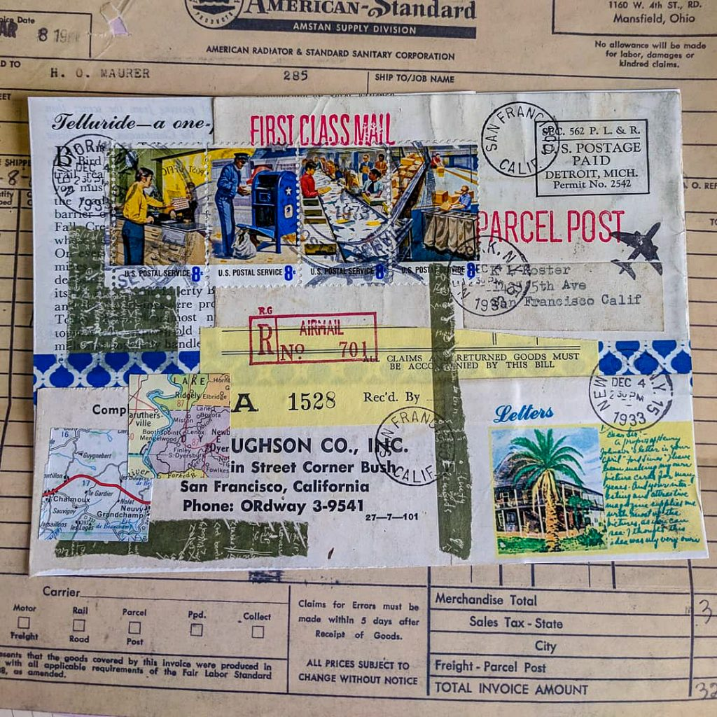 A collage made up of mid-century papers including a set of vintage postage stamps about postal workers