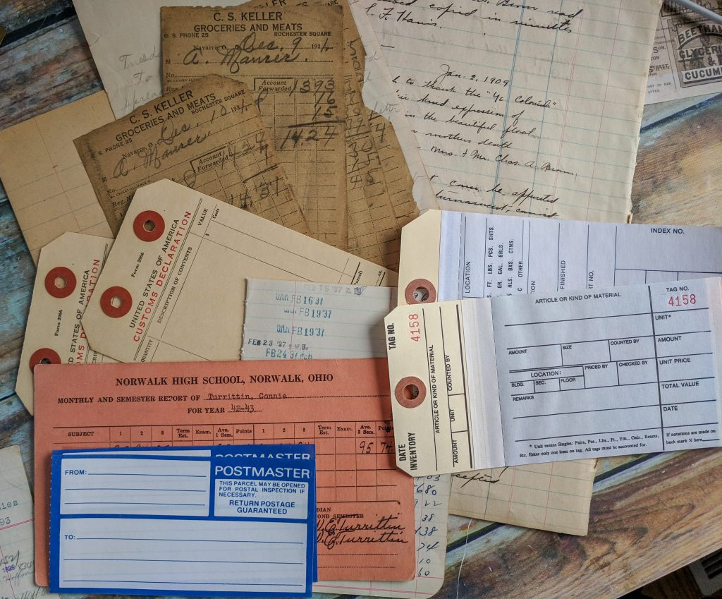 A bunch of old postal forms and tags