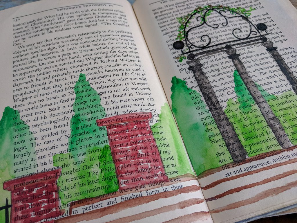 A watercolor painting of a garden done in the pages of a book