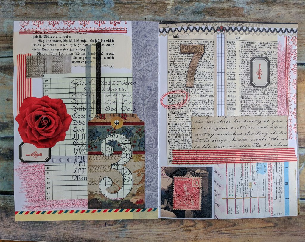a collage-art, 2-page spread in an art journal consisting of book pages, washi tape, the color red, and large numerals