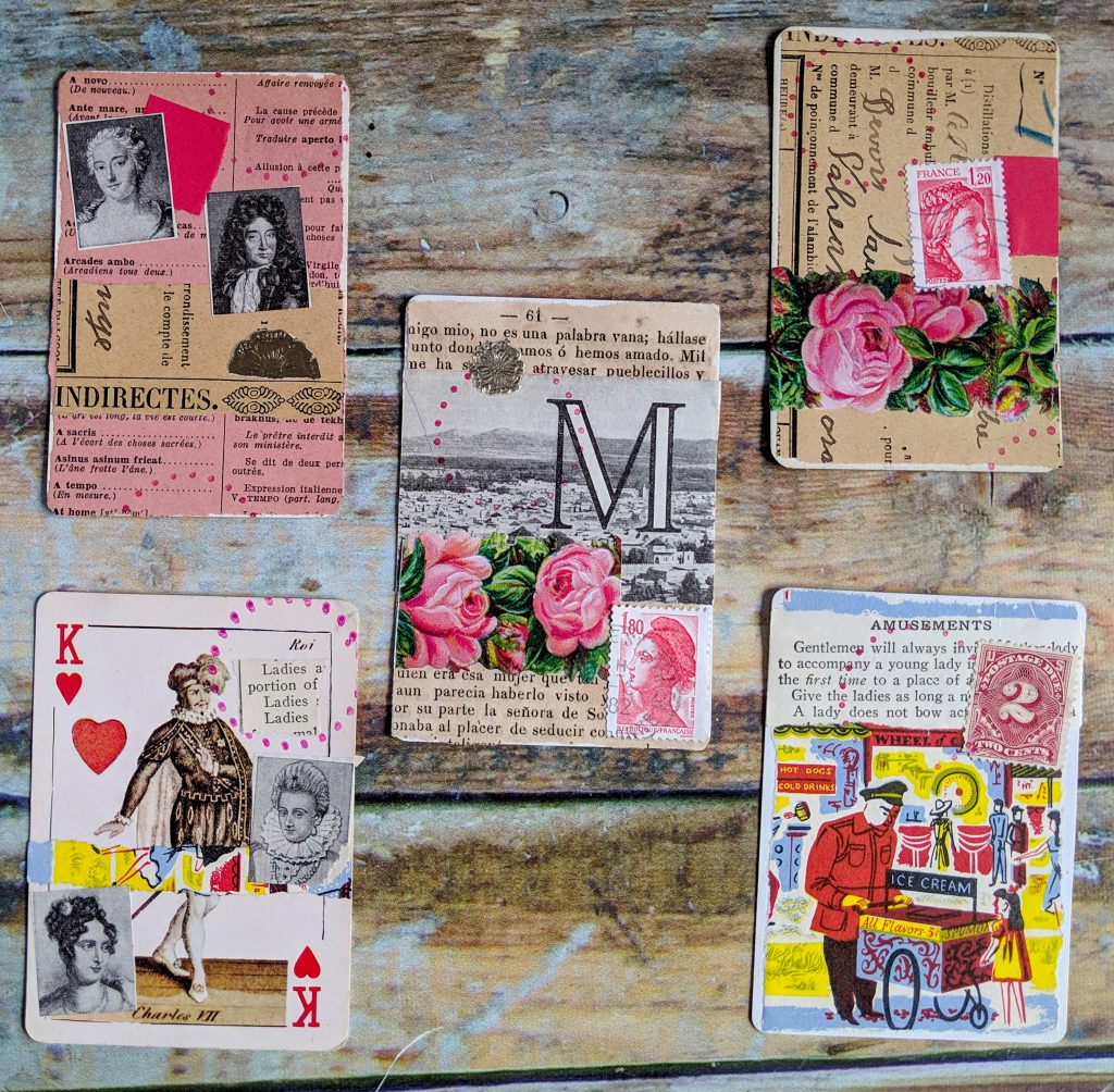 5 ATCs done in a vintage style of collage art