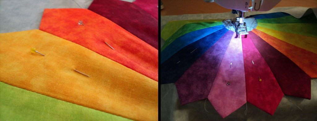"Rainbow colored petals of a dresden ""quilt"""