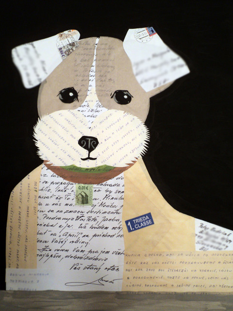 A collage of a dog made with vintage letters