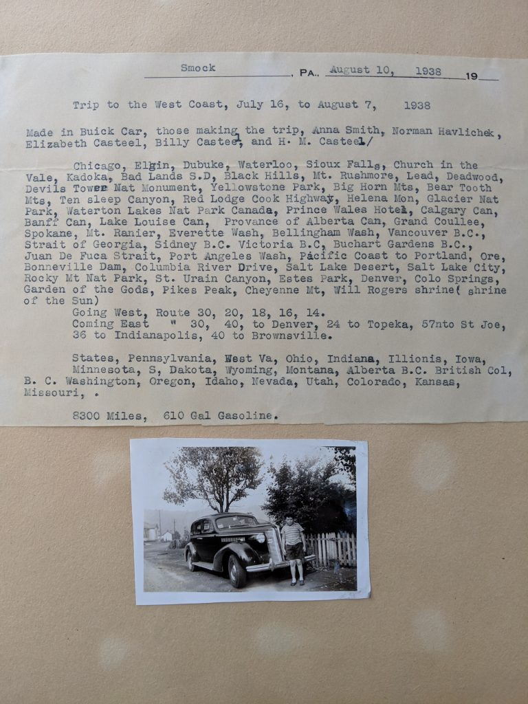 a typed page with places visited along with a photo of the Buick in 1936