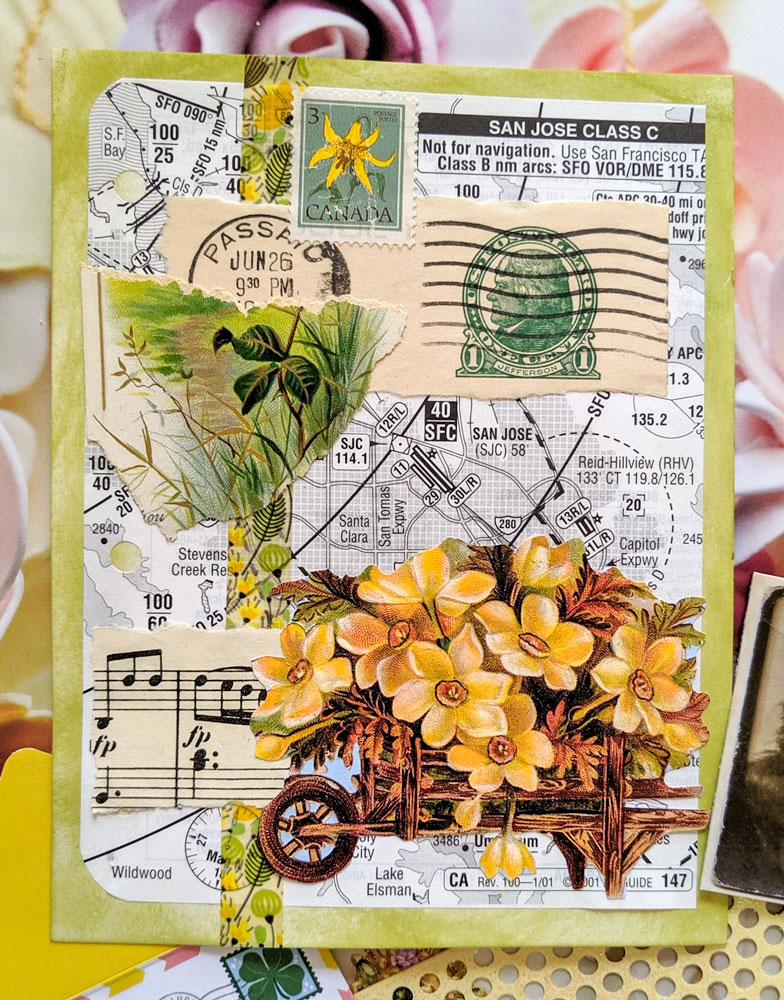 a collage made of vintage illustrated and printed papers