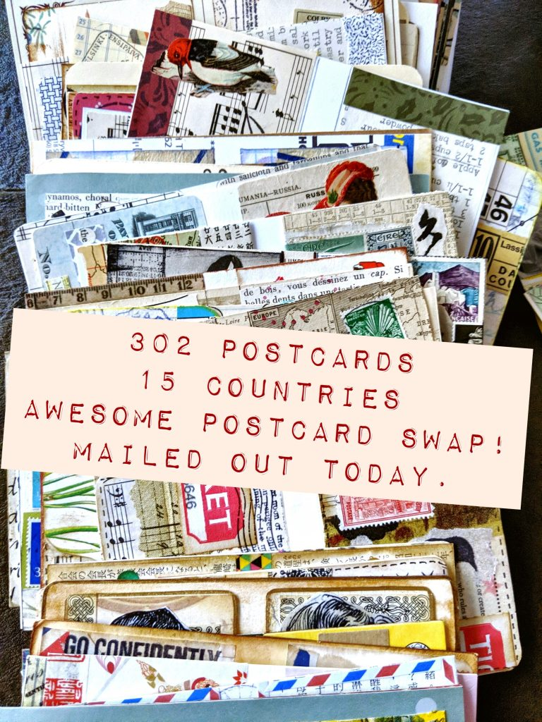Instagram announcement on the postcard swap