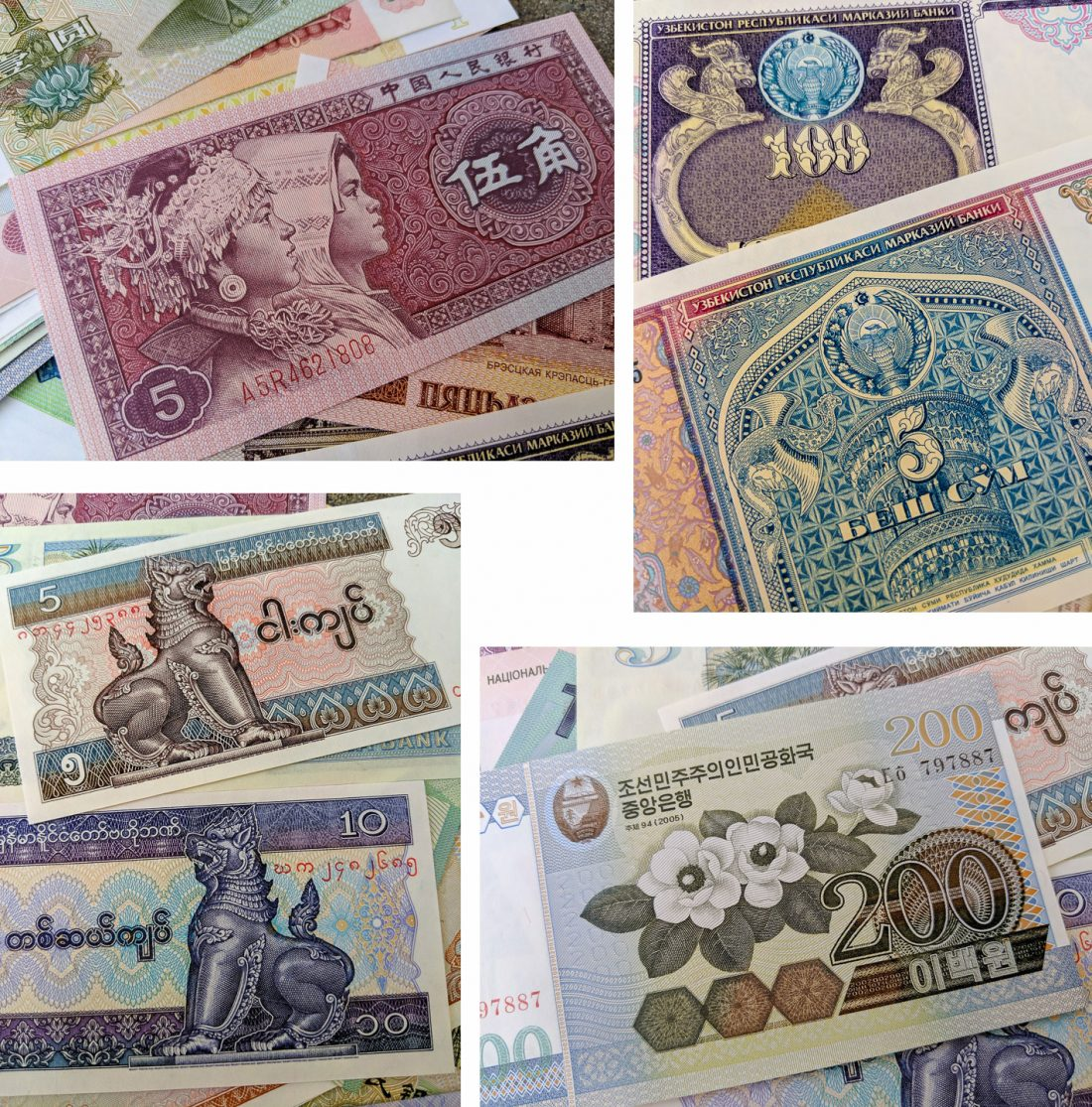 a mosaic of colorful currencies
