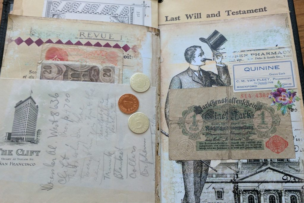 a spread of pages with collages done using vintage currency and some paper coins