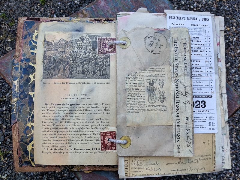a small collage on the back of an old envelope