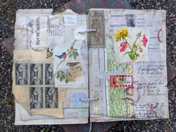 A busy spread of collaged pages