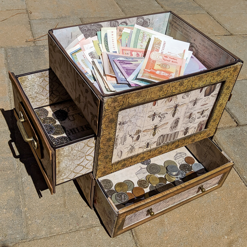 A treasure box made for coins and currency