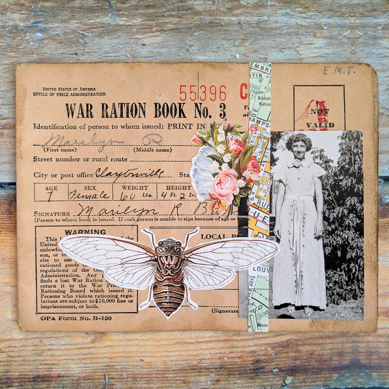 a vintage photo of a finely dressed young girl is one of the elements collaged on a vintage war ration book