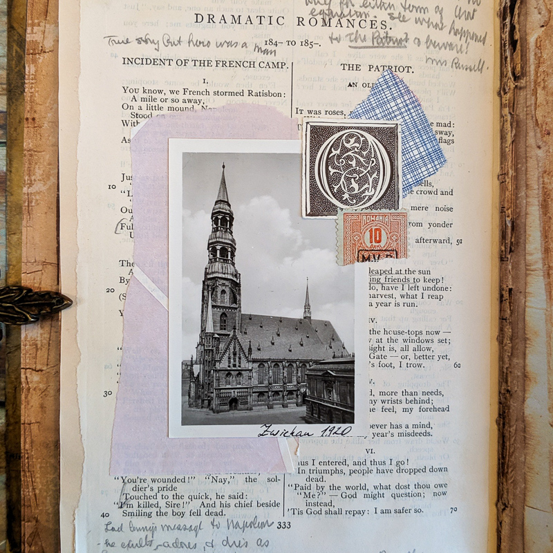 An old photo of a church is collaged with other papers on a text page of poetry