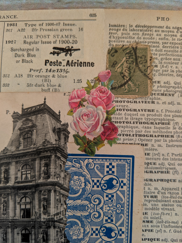 French postcard and French dictionary page