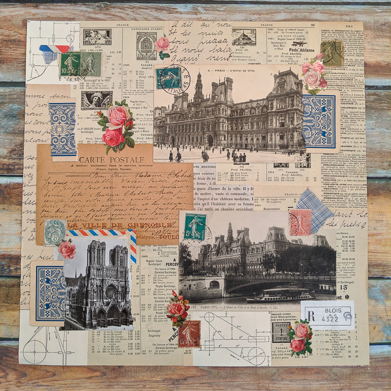 A large collage made of vintage French postcards, stamps, letters and playing cards