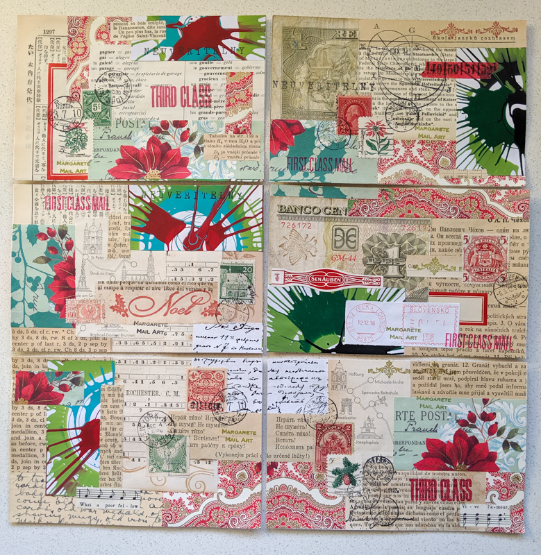 6 collaged postcards came from a single masterboard