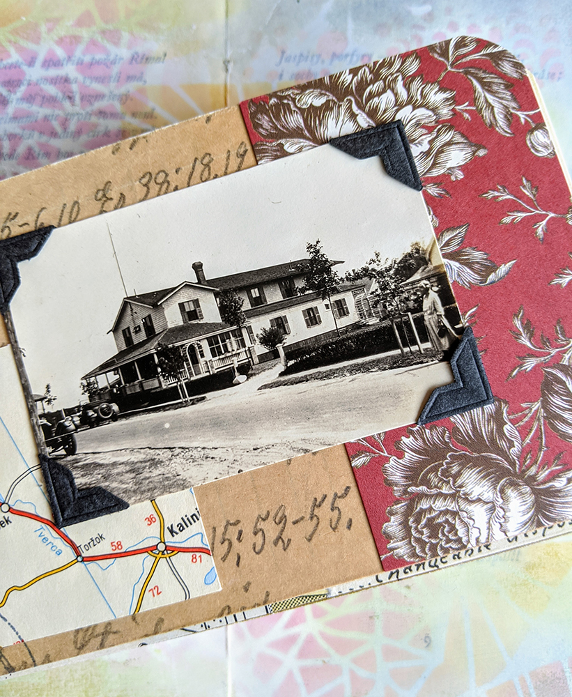 a vintage photo of a house, collaged with pattern paper and other vintage papers
